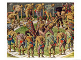 "A Barbarian Celebration, from ""Navigatio in Brasiliam Americae"" Giclee Print by Theodor de Bry"