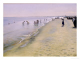 Summer Day at the South Beach of Skagen, 1884 Giclee Print by Peder Severin Kr&#246;yer