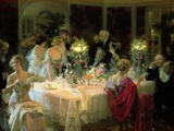 The End of Dinner, 1913 Giclee Print by Jules-Alexandre Gr&#252;n