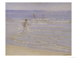 Sunshine at Skagen: Boys Swimming, 1892 (Study) Giclee Print by Peder Severin Kr&#246;yer