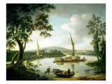 View of the Thames from Keen Edge Ferry, Shillingford - Looking Across to Dorchester Giclee Print by John Thomas Serres