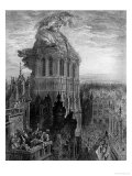 "Gargantua on the Towers of Notre-Dame at Paris, Illustration from ""Gargantua"" Giclee Print by Gustave Doré"
