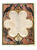 Page from a Hebrew Bible with Birds, 1299 Premium Giclee Print by Joseph Asarfati