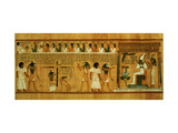 The Weighing of the Heart Against Maat's Feather of Truth, New Kingdom, circa 1275 BC (Papyrus) Impressão giclée