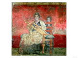 Noblewoman Playing a Cithera, from the Boscoreale Villa, Pompeii, circa 50 BC Giclee Print
