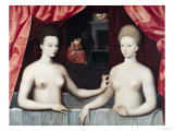 Gabrielle D'Estrees (1573-99) and Her Sister, the Duchess of Villars, Late 16th Century Premium Giclee Print