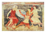 Two Amazons in Combat with a Greek, from Tarquinia, 370-360 BC (Wall Painting) Giclee Print