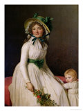 Madame Pierre Seriziat (Nee Emilie Pecoul) with Her Son, Emile (B.1793) 1795 Giclee Print by Jacques-Louis David