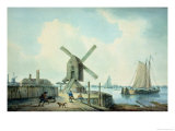 A Shore Scene with Windmills and Shipping Giclee Print by William Anderson