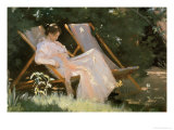 The Artist&#39;s Wife Sitting in a Garden Chair at Skagen, 1893 Giclee Print by Peder Severin Kr&#246;yer