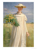 Anna Ancher Returning from Flower Picking, 1902 Premium Giclee Print by Michael Peter Ancher