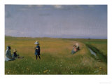 Children and Young Girls Picking Flowers in a Meadow North of Skagen Gicléetryck av Michael Peter Ancher