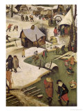 The Census at Bethlehem, Detail of Children Playing on the Frozen River Premium Giclee Print by Pieter Bruegel the Elder
