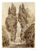 Large Cypresses at the Villa D'Este Giclée-Druck von Jean-Honoré Fragonard