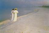 Summer Evening on the Skagen Southern Beach with Anna Ancher and Marie Kroyer, 1893 Giclée-tryk af Peder Severin Kröyer