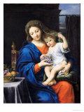 Jomfru Maria med druer, 1640-50 Giclée-tryk af Pierre Mignard