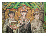 Empress Theodora with Her Court of Two Ministers and Seven Women, circa 547 AD Premium Giclee Print