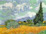 Wheatfield with Cypresses, 1889 Premium Giclée-tryk af Vincent van Gogh