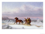 Crossing the St. Lawrence from Levis to Quebec on a Sleigh Giclee Print by Cornelius Krieghoff