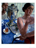 At the Samovar Giclee Print by Kuzma Sergievitch Petrov-Vodkin