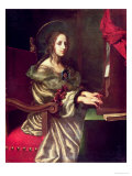 St. Cecilia (Patron of Musicians) Gicle-tryk af Carlo Dolci