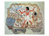 Nebamun Hunting in the Marshes with His Wife an Daughter, Part of a Wall Painting Premium Giclee Print