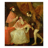 Pope Paul III (1468-1549) and His Nephews, 1545 Giclee Print by  Titian (Tiziano Vecelli)