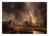 The Great Fire in the Old Town Hall, Amsterdam 1652 Giclee Print by Jan Beerstraten