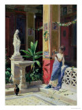 In a Courtyard in Pompeii Giclee Print by Luigi Bazzani