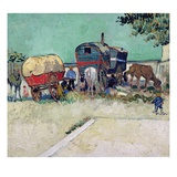 The Caravans, Gypsy Encampment Near Arles, 1888 Giclee Print by Vincent van Gogh