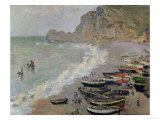 Etretat, Beach and the Porte D'Amont, 1883 Giclee Print by Claude Monet