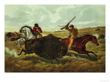 Life on the Prairie, the Buffalo Hunt, 1862 Giclee Print by Currier & Ives