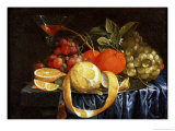 Still Life of Grapes, Oranges and a Peeled Lemon Giclee Print by Jan Pauwel Gillemans I