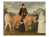 Portrait of Philip II (Mounted on a Cow), the Duke of Alencon, the Duke of Alba, William of Orange Giclee Print by Philip Moro