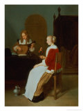 An Interior with a Lute Player and a Woman Holding a Parrot Gicl&#233;e-Druck von Quiringh Gerritsz. van Brekelenkam