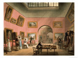 """British Institution, Pall Mall, from Ackermann's """"Microcosm of London"""" Giclee Print by Thomas Rowlandson"""