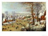 Winter Landscape with Skaters and a Bird Trap Impression giclée par Pieter Brueghel the Younger
