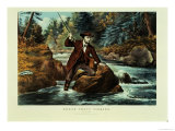 Brook Trout Fishing, an Anxious Moment, 1862 Giclee Print by  Currier & Ives