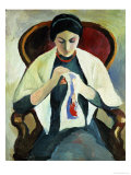 Woman Sewing Giclee Print by Auguste Macke