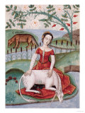 The Young Woman and the Unicorn, by M Platearius Giclee Print