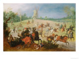 A Cavalry Battle in a Wooded Valley Before a Windmill Giclée-Druck von Sebastian Vrancx