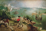 Landscape with the Fall of Icarus, circa 1555 Gicleetryck av Pieter Bruegel the Elder