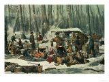 American Forest Scene  Maple Sugaring  1856