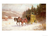 The Post Coach in the Snow Gicl&#233;e-Druck von Fritz van der Venne