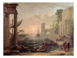 Seaport with the Embarkation of the Queen of Sheba, 1648 Giclee Print by Claude Lorrain