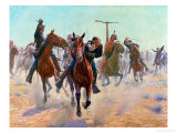Breaking Through the Lines Premium Giclee Print by Charles Schreyvogel