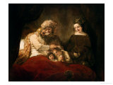 Jacob Blessing the Children of Joseph, 1656 Premium Giclee Print by  Rembrandt van Rijn