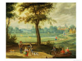 A Village Landscape by a River Giclee Print by Isaak van Oosten