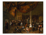 A Village Wedding Feast with Revellers and a Dancing Party, 1671 Giclee Print by Jan Havicksz. Steen