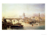 St. Paul's Cathedral and London Bridge Giclee Print by Edward Angelo Goodall